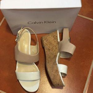 CALVIN KLEIN LORIANNE PATENT NUDE CORK PLATFORMS